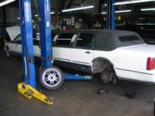 Doing some rear brake work on a stretched limo